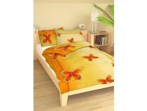 Bavlněné povlečení výrazní motýli 140x200cm70x90cm oranžové