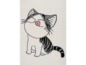 Dětský koberec kočička bílý různé rozměry (1)
