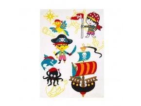 Dětský koberec piráti bílý různé rozměry (1)