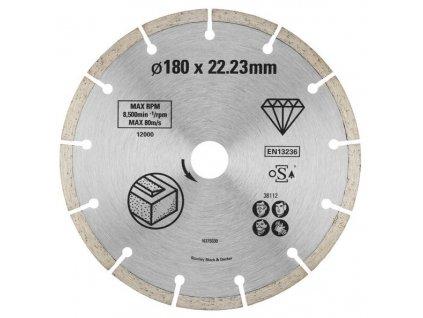 STA38112 STANLEY FATMAX DIAMANTOVÝ SEGMENTOVÝ KOTOUČ ⌀180 X 22,2MM NA BETON/CIHLY