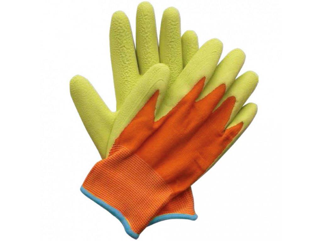 detske pracovni rukavice oranzovo zelene