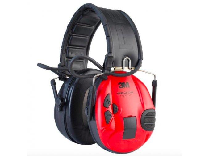 Aktivní sluchátka 3M Peltor SportTac, skládací, výměnné kryty (černá : červená)