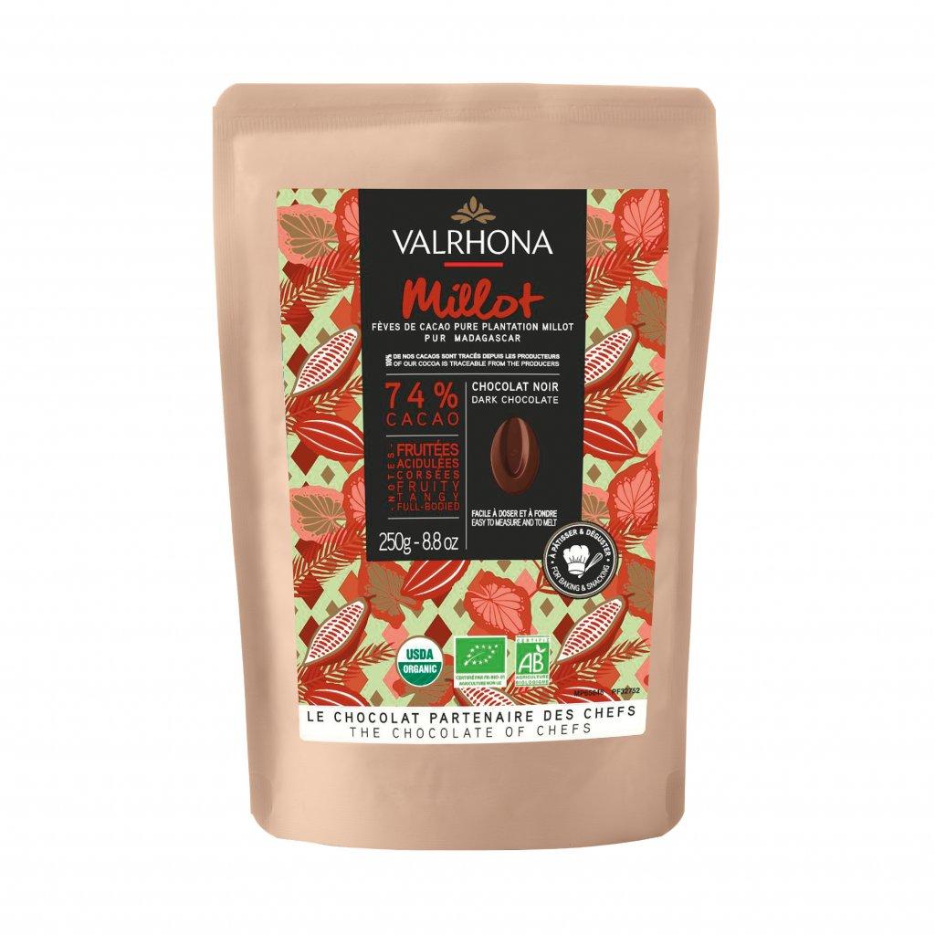 Valrhona Feves Čokoláda Milot 74% 250g