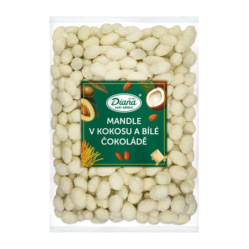 Mandle v polevě z kokosu a bílé čokolády