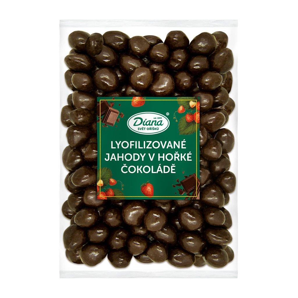 jahody mrazem sušené v hořké čokoládě