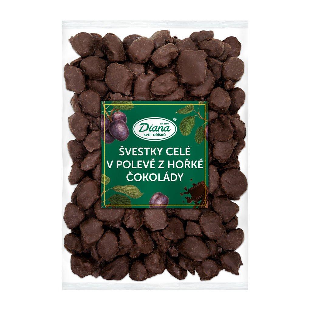 Švestky celé v polevě z hořké čokolády