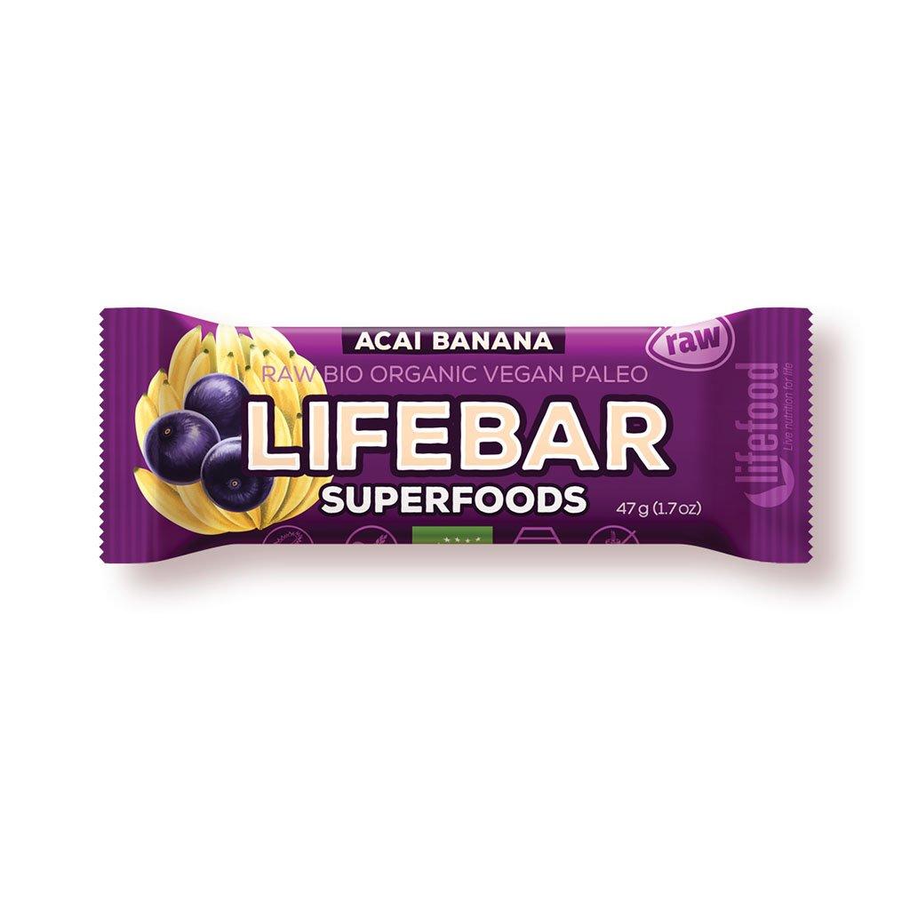 Lifefood LIFEBAR PLUS BIO RAW açai s banánem 47g