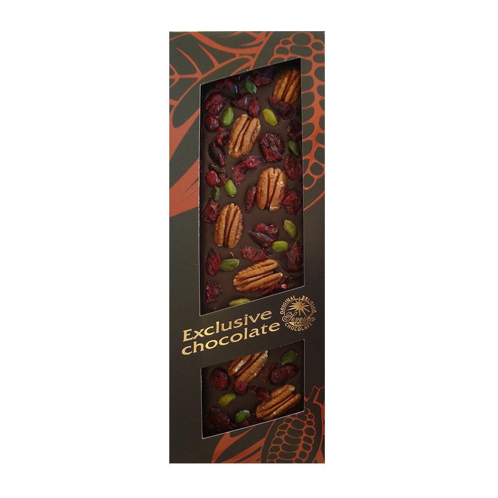 T severka Tabulková čokoláda s pekanovými ořechy, pistráciemi a brusinka