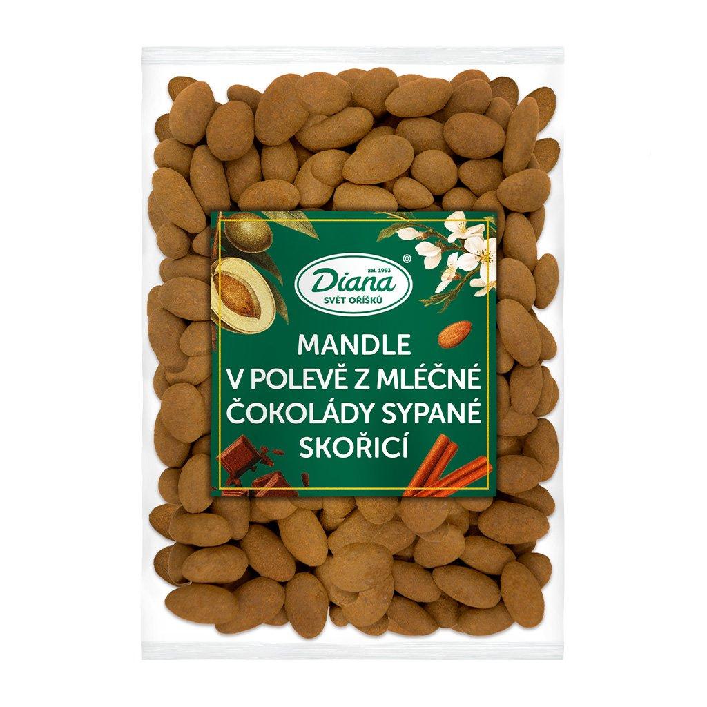Mandle v polevě z mléčné čokolády sypané skořicí