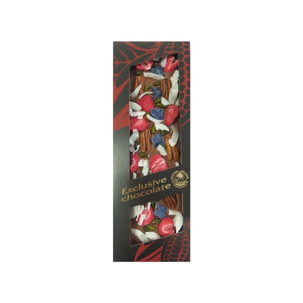 T-severka Tabulková čokoláda exclusive- pekan,pistácie,jahody, kokos, šeřík mléčná 130g