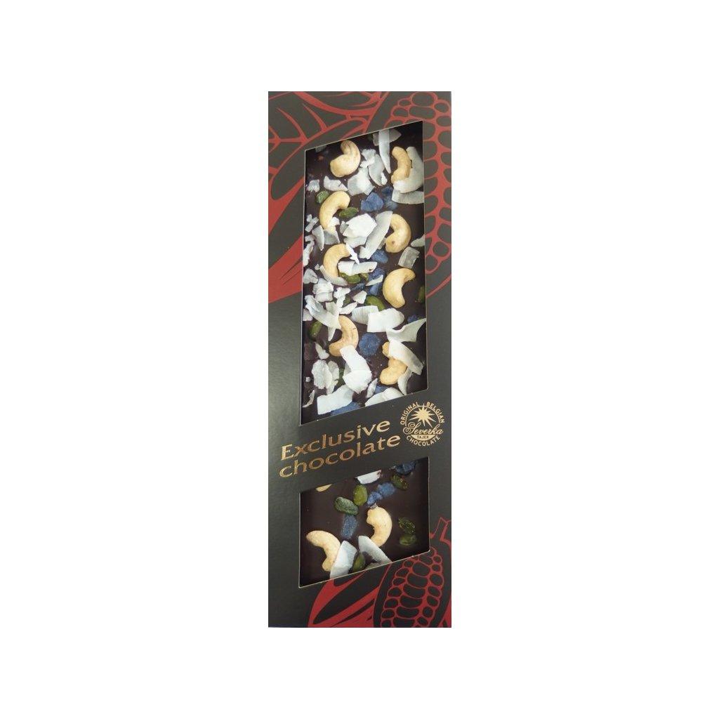 T-severka Tabulková čokoláda exclusive-kešu, pistácie, fialky, kokos hořká 130g