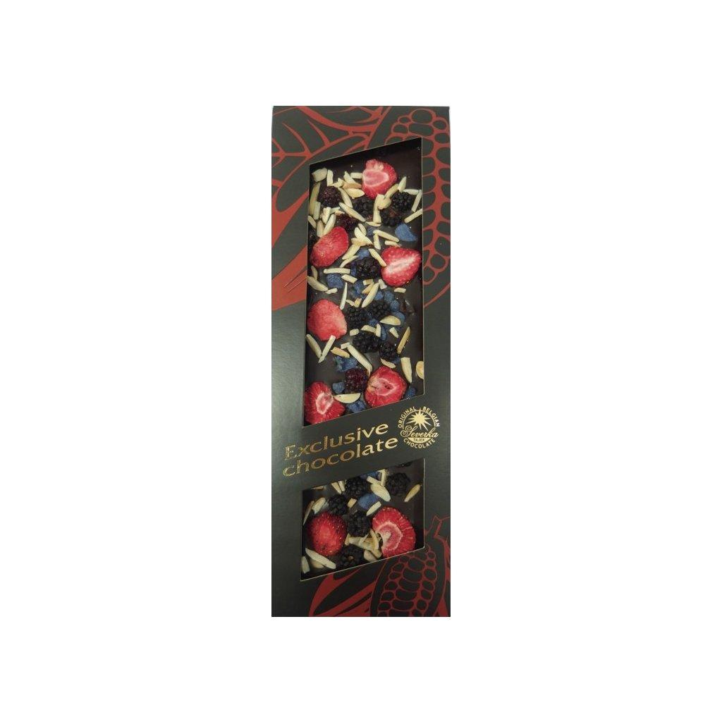 T-severka Tabulková čokoláda exclusive-ostružina, jahody, mandle, fialky hořká 120g