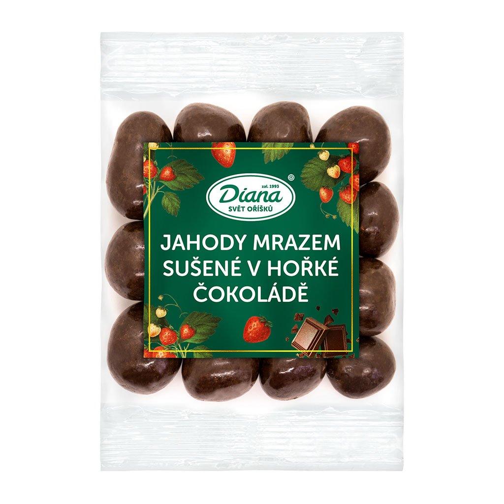 Jahody mrazem sušené v hořké čokoládě 100 g diana company