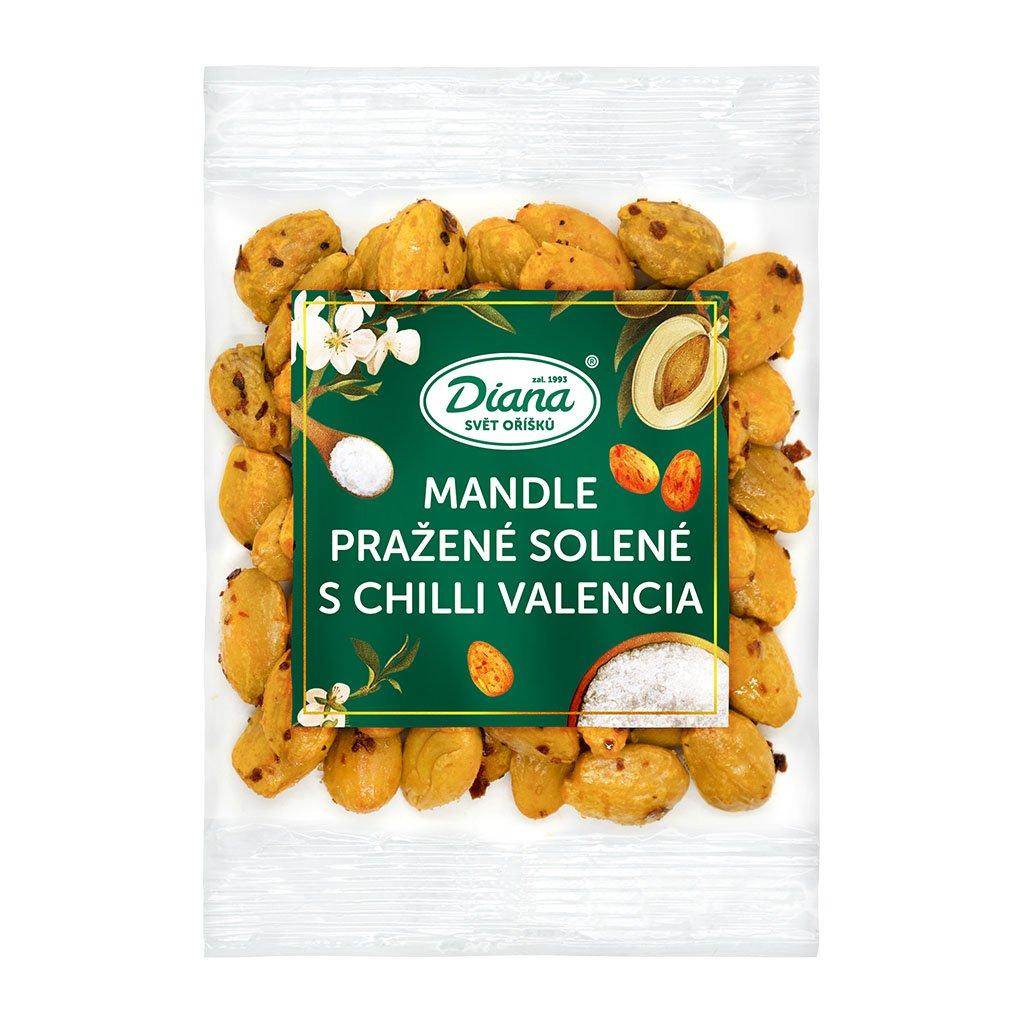 mandle pražené solené s chilli valencia 100g diana company