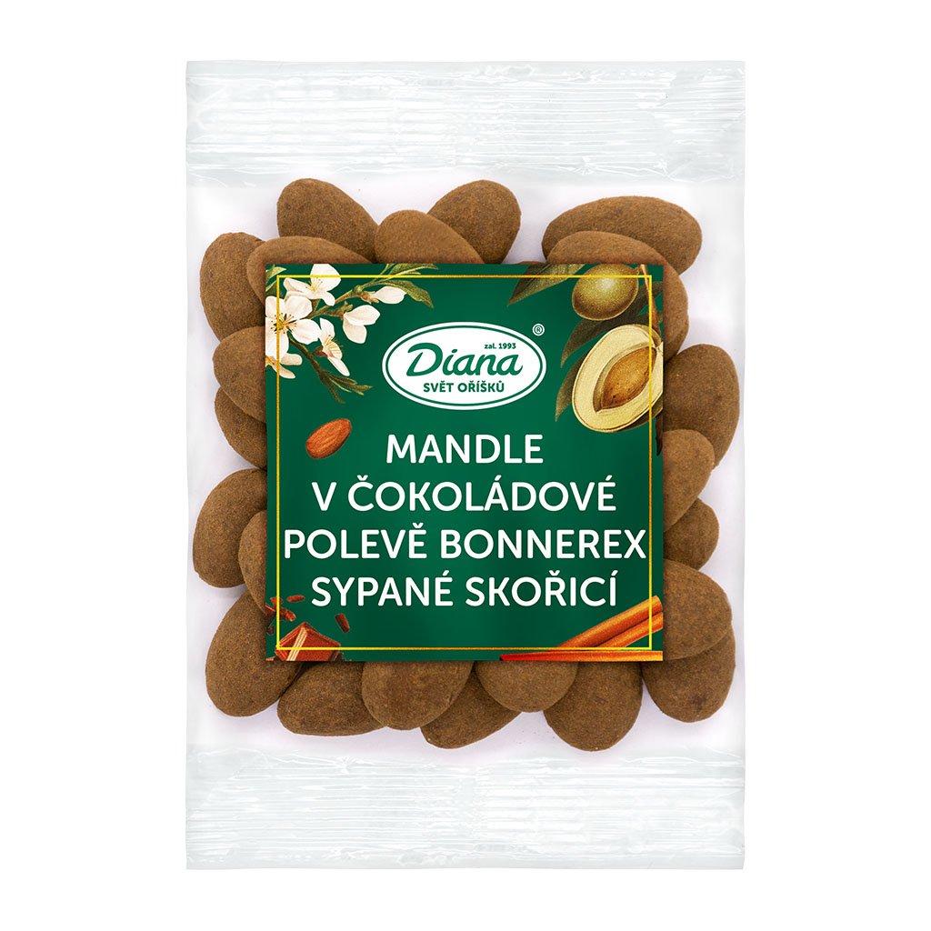 Mandle v čokoládové polevě Bonnerex sypané skořicí 100g