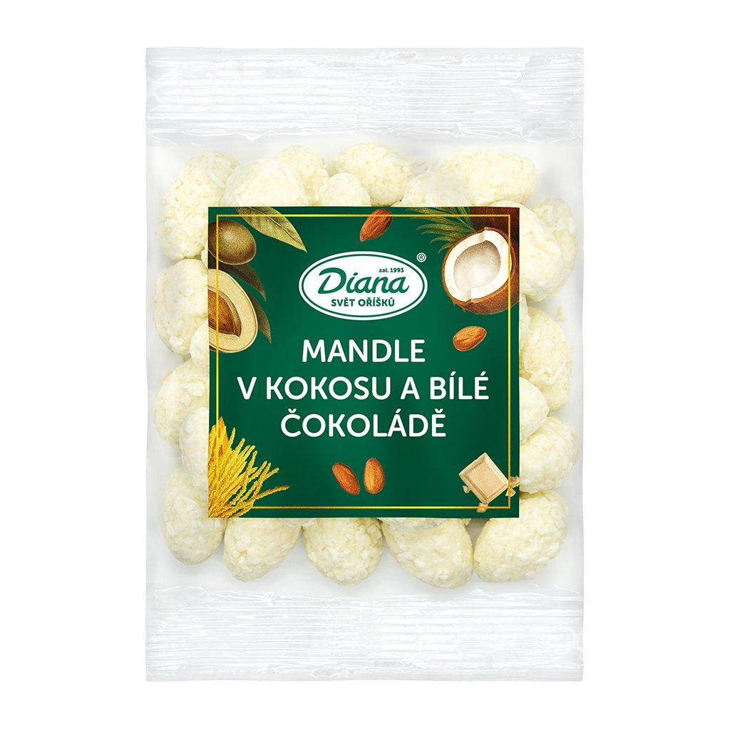 mandle v polevě z kokosu a bílé čokolády 100g diana company