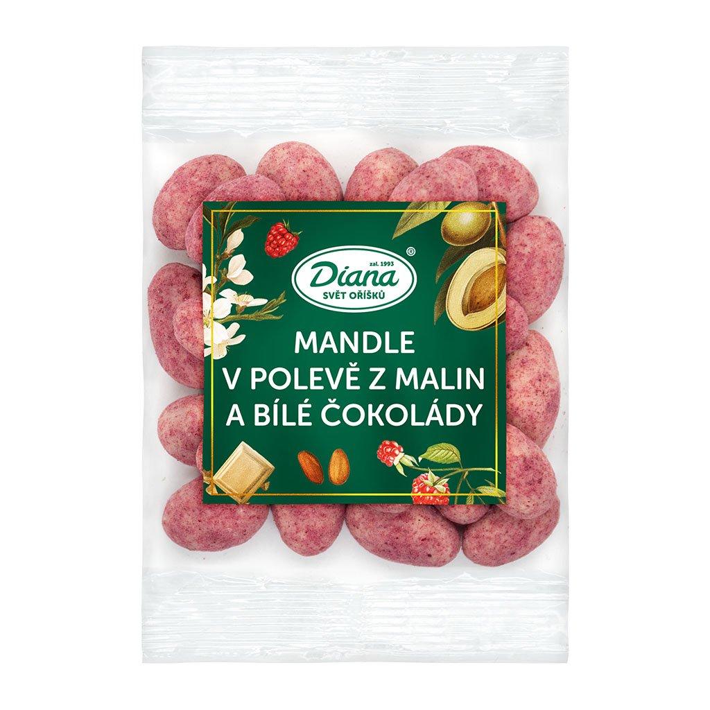 Mandle v polevě z malin a bílé čokolády 100g