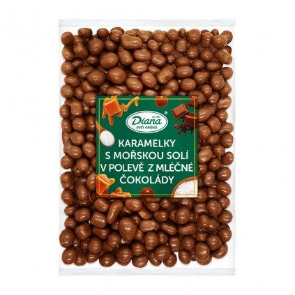 Karamelky s mořskou solí v polevě z mléčné čokolády