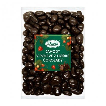Jahody v polevě z hořké čokolády