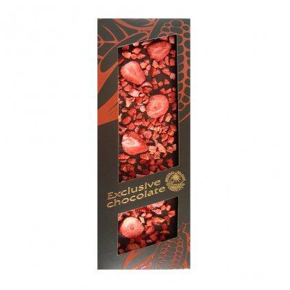 T-severka Tabulková čokoláda s jahodami hořká 120g
