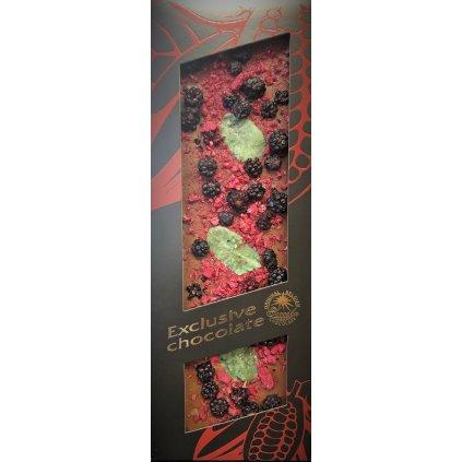 T-severka tabulková mléčná čokoláda exclusive s ostružinami, malinami a mátou 120g