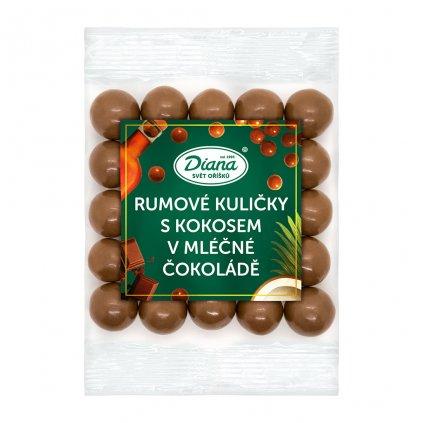 rumove kulicky v polevě z kokosu a mléčné čokolády