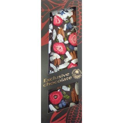 T-severka Tabulková čokoláda exclusive- pekan,pistácie,jahody, kokos, šeřík hořká 130g