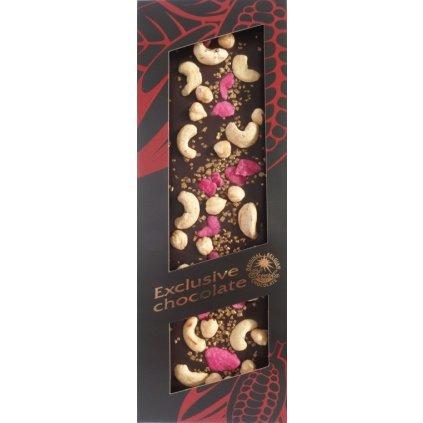 T-severka Tabulková čokoláda exclusive-kešu, lísk. ořechy, růže, zlato hořká 130g