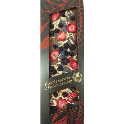 T-severka Tabulková čokoláda exclusive-ostružina, jahody, mandle, fialky mléčná 120g