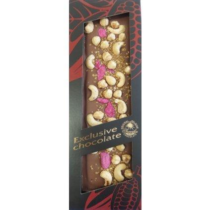 T-severka Tabulková čokoláda exclusive-kešu, lísk. ořechy, růže, zlato mléčná 130g
