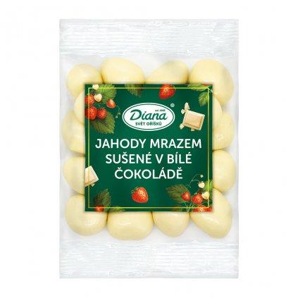 Jahody mrazem sušené v bílé čokoládě 100g