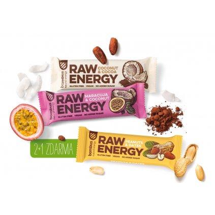 BOMBUS RAW ENERGY MIX 15+6 - Peanuts&Dates 50g, Maracuja&Coconut 50g, Coconut&Cocoa 50g