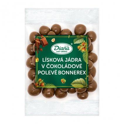 lísková jádra v čokoládové polevě bonnerex 100g diana company