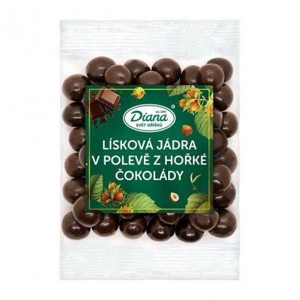 Lísková jádra v polevě z hořké čokolády 100g