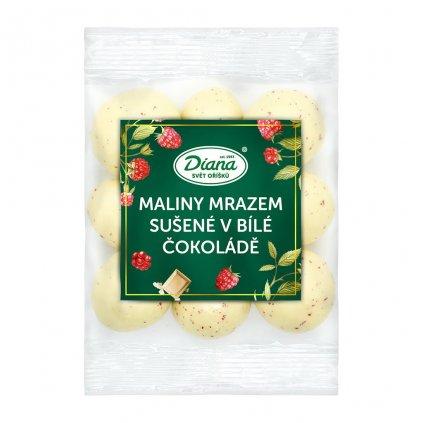 Maliny mrazem sušené v bílé čokoládě 100g