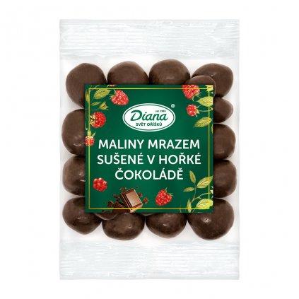 maliny mrazem sušené v hořké čokoládě 100g diana company