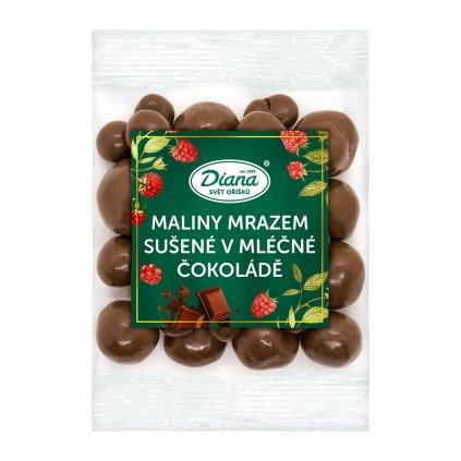 maliny mrazem sušené v mléčné čokoládě 100g diana company