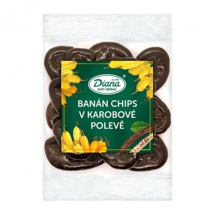 banán chips v karobové polevě 100g diana company