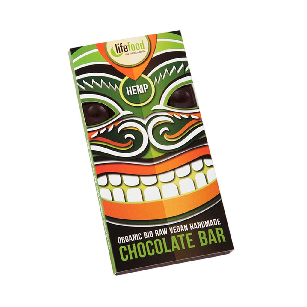 Lifefood Čokoláda velká BIO RAW s konopným semínkem 70g