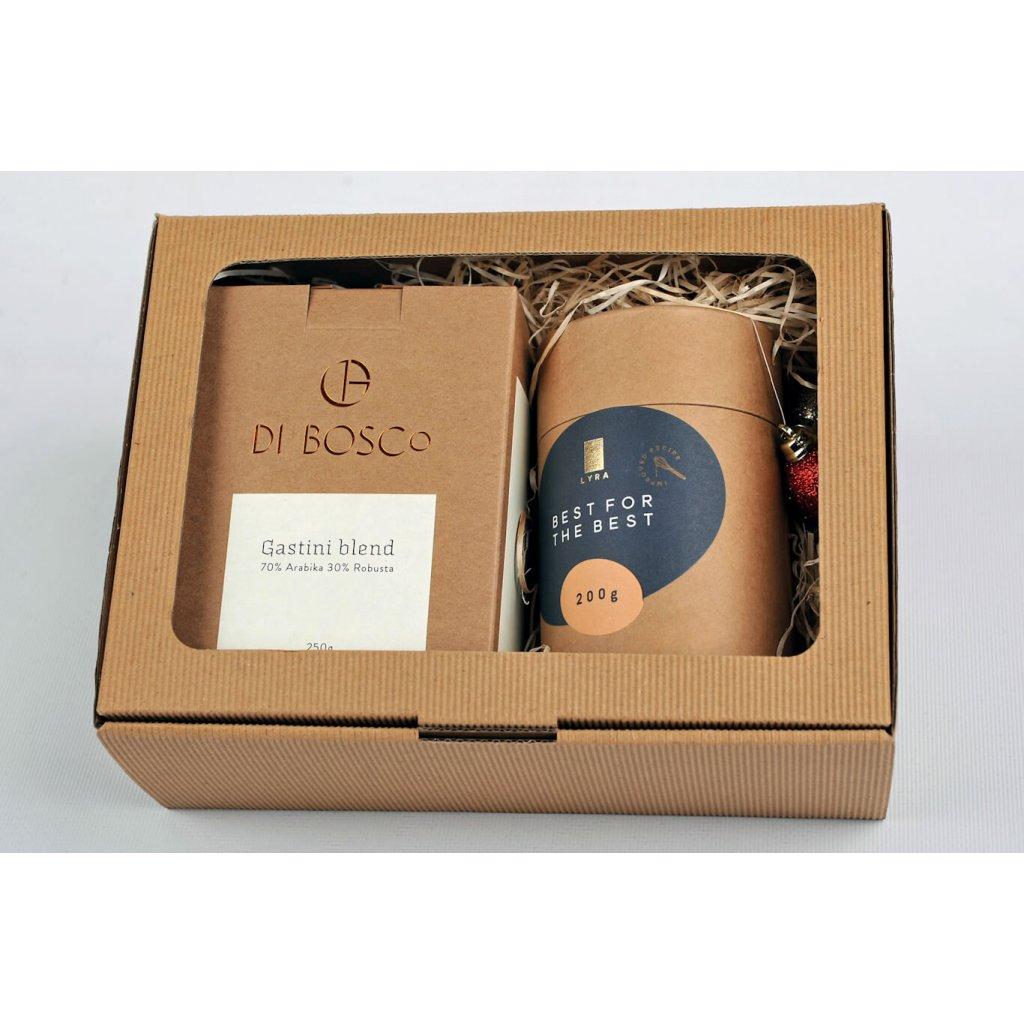 """Vianočné darčekové balenie 250g kávy Gastini a pražených orieškov Lyra """"Best for the best"""""""