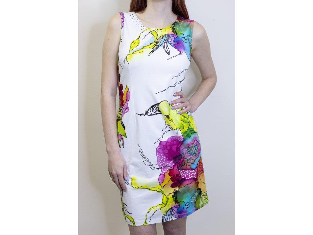 Šaty bílé s barevným vzorem 21724