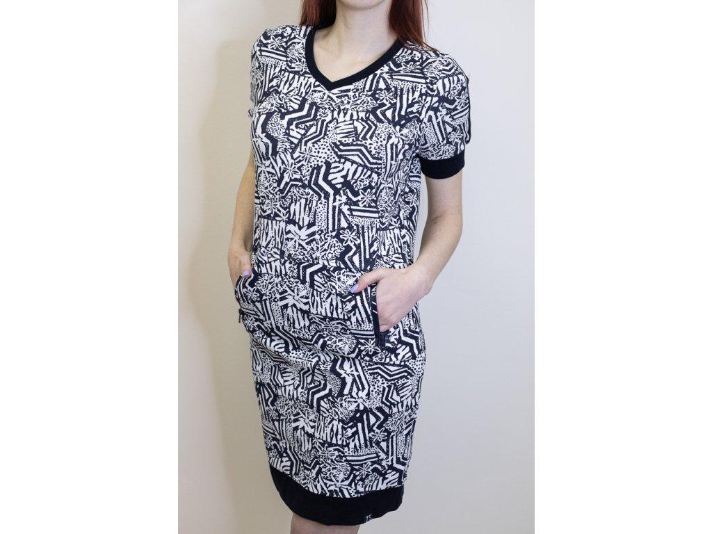 Šaty bílé s modrým vzorem 363187
