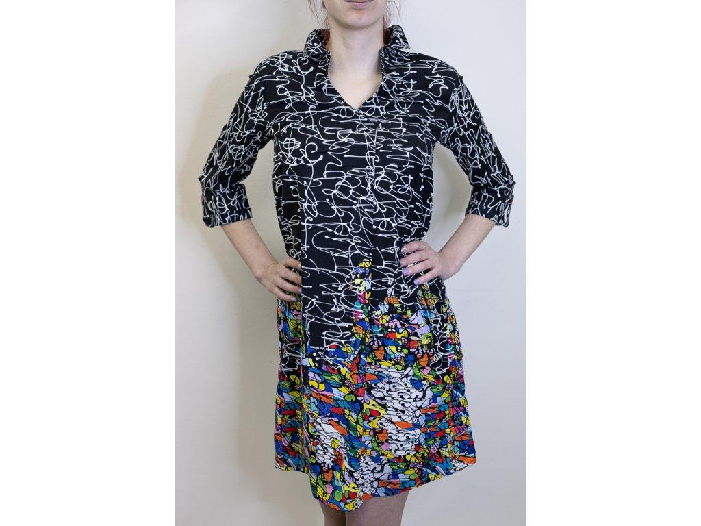 Šaty černé - barevný vzor 21647