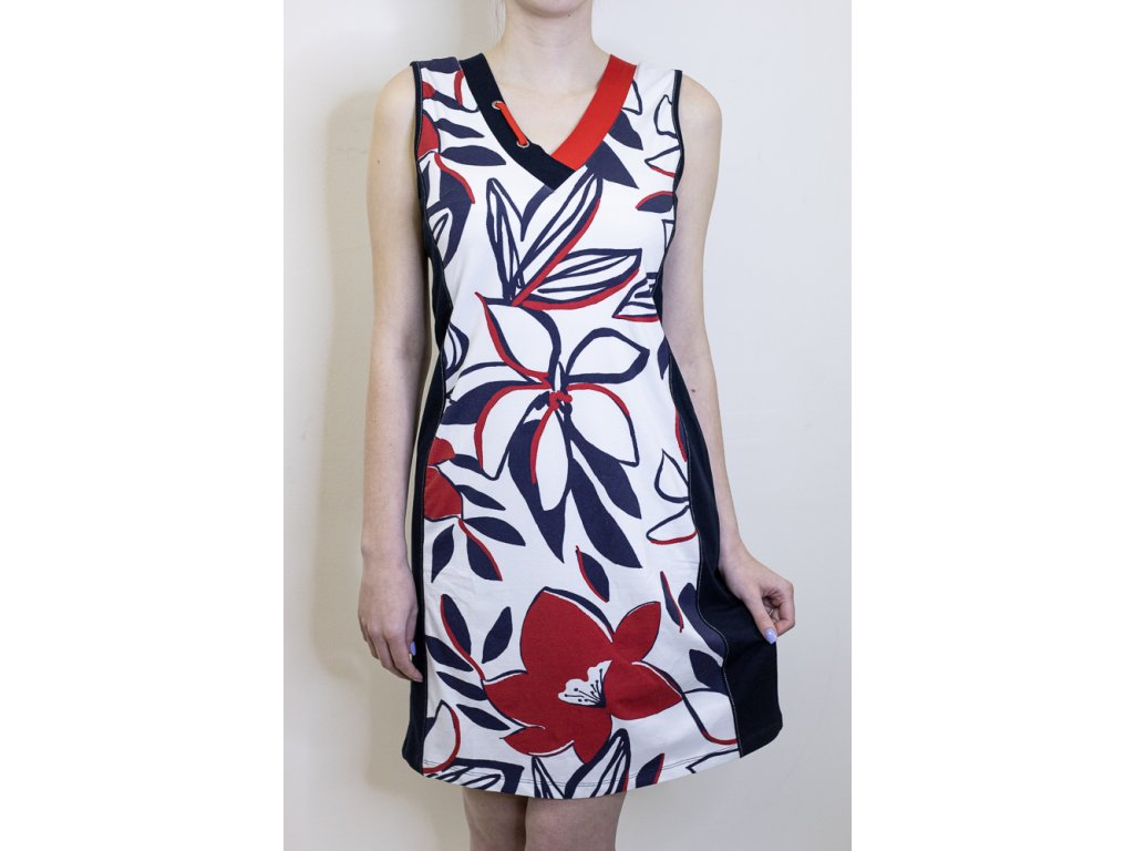 Šaty tmavě modré - červený květ 21109