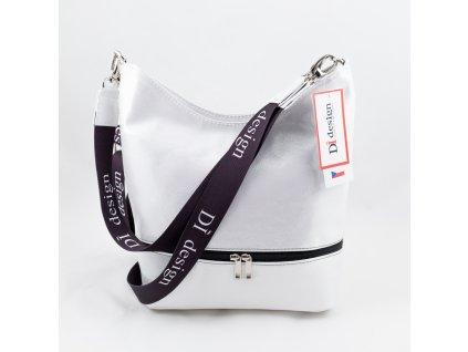 Dámská kabelka bílo-stříbrná 127N