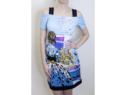 Šaty bledě modré se vzorem 21745