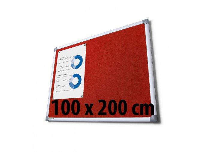 Tabule textilné, 100 x 200 cm, červená