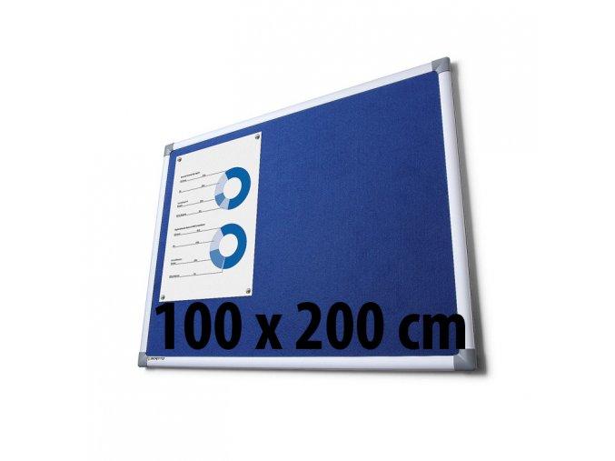 Tabule textilné, 100 x 200 cm, modrá