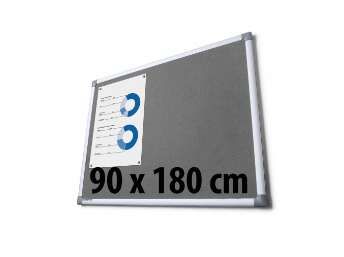 Tabule textilné, 90 x 180 cm, šedá