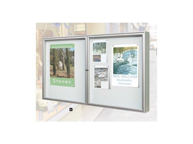 Vonkajšia dvojkrídlová vitrína 1050 x 1800 mm, hĺbka 75 mm (plexisklo)